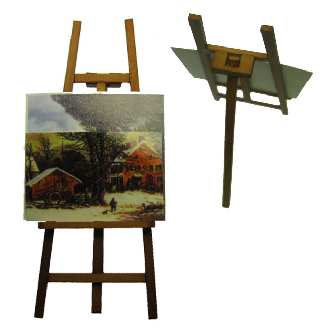 Artist Easel with Paintings Miniature Set - Click Image to Close