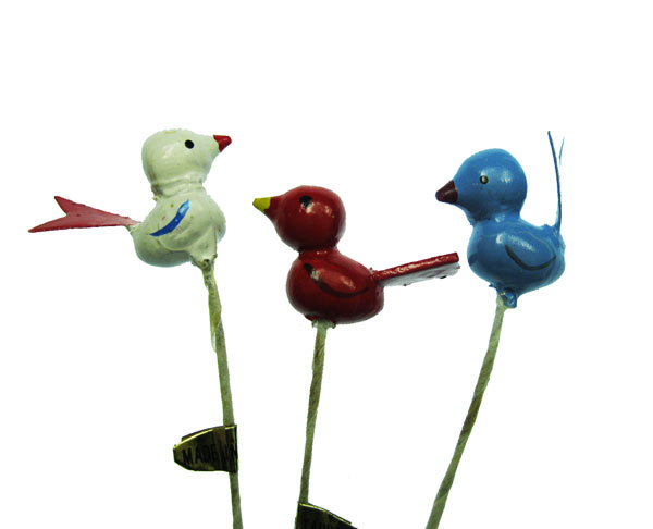 Hand Painted Vintage Wooden Birds (3) - Click Image to Close