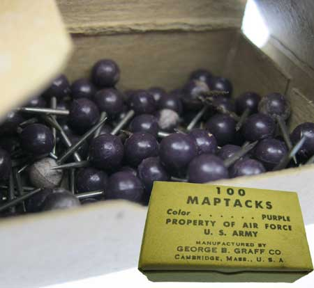 Box of Vintage Purple Map Tacks - Click Image to Close