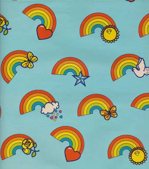 Vintage Gift Wrap Sheet : Happiness Rainbows - Click Image to Close